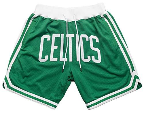 Trestc Men's Retro Embroidered Mesh Basketball Pants Stitched_Celtics_Basketball Pocket Quick Dry Sports Shorts - Green/White