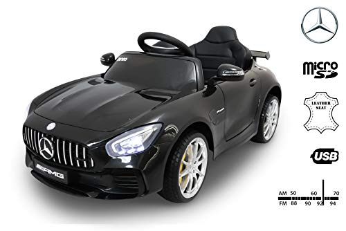 RIRICAR Coches electricos niños Mercedes-Benz GTR, Negro, Licencia Original, Batería accionada, Puertas de la Abertura, Asiento de Cuero, Motor 2X, Batería de 12 V, 2.4 GHz teledirigido