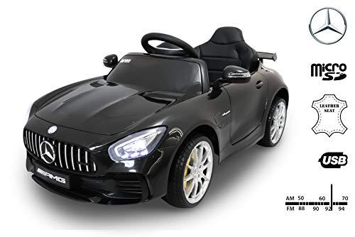 RIRICAR Mercedes-Benz GTR Macchina Elettrica per Bambini, Nero, Originale Licenza, Batteria, Porte di Apertura, Sedile in Pelle, 2X Motore, Batteria da 12 V