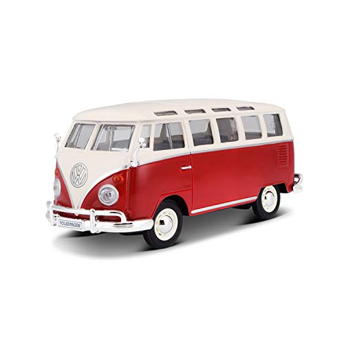 Maisto 531956 VW Bus Samba Modellauto im Maßstab 1:25, rot-weiß