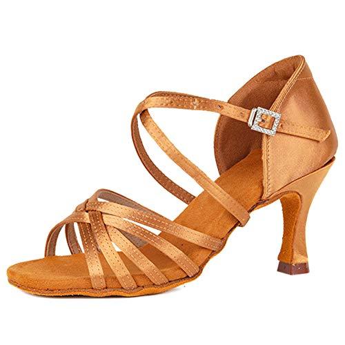 SWDZM Zapatos para Baile Latino Mujer,Salsa Tango Samba Bachata estándar de Zapatos,Seda,Tacón-2.76'',Marrón,37EU/23.3CM