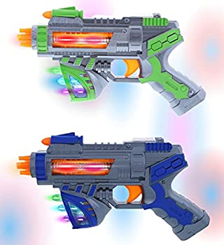Mozlly Light Up Sonic Space Blaster Gun Toy Set of 2 - Flashing LED Laser Guns For Kids with Sounds Effects Vibrating Futuristic Pistols for Party Favors & Costume Dress Up Prop Pretend Play - 2 Pack