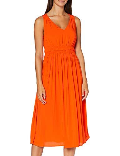 TOM TAILOR Damen V-Ausschnitt Print Kleid, 22370-strong Flame orange, 40