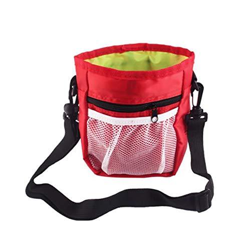 winying Futterbeutel für Hunde Training Bauchtasche Verstellbarer mit Mehreren Fächer Aufbewahrung Trage Tasche für Pet Spielzeug Snacks Rot One Size