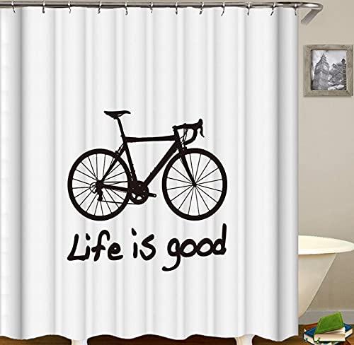 JOVEGSRVA Schwarzes Fahrrad Duschvorhänge Wasserdicht Badvorhänge Trennvorhang Formsicherer Badvorhang Mit 12 Haken 180 X 200 cm