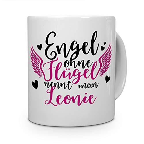 printplanet Tasse mit Namen Leonie - Motiv Engel - Namenstasse, Kaffeebecher, Mug, Becher, Kaffeetasse - Farbe Weiß