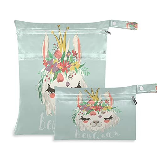 QMIN - Borsa da bagno per neonati, impermeabile, con 2 tasche con cerniera per nuoto, viaggi, spiaggia, palestra, confezione da 2