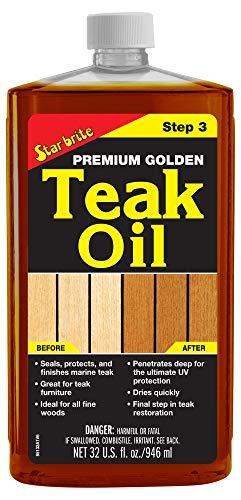 Star brite Premium Golden Teak Oil - Sealer, Preserver, & Finish for Outdoor Teak & Other Fine Woods, 32 oz
