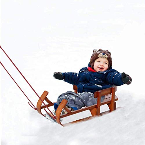 L.BAN Wooden Sled, Outdoor Wooden Sled for Kids Solid Wood Seat with Water-Based Protective Lacquer Frame