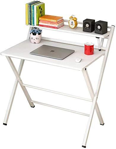 Mesa plegable para ordenador, escritorio simple para salón, dormitorio, oficina, color natural y blanco