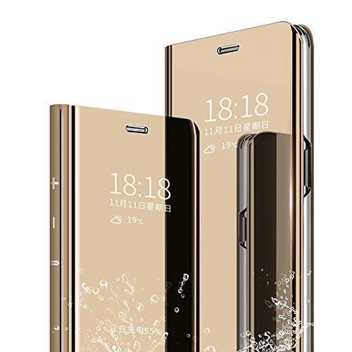 Kompatibel Hülle Xiaomi Mi MAX 3 Spiegel Lederhülle Handyhülle PU-Leder Flip Handy Hülle mit Standfunktion Schutzhülle,für Xiaomi Mi MAX 3 360 Grad Cover Hülle - Gold