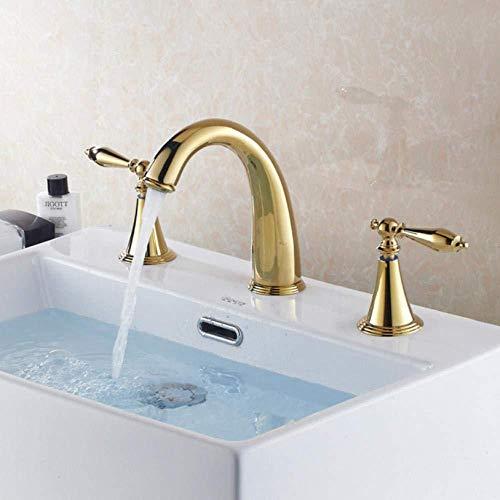 Kraankraan badkuip Europees-Style met drie gaten bekken koperen badkamerkast 3 stks set titanium kraan koud en warm water bad