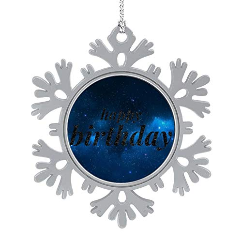 Enylvjoy Slogan Greeting Card Print Happy Birthday Christmas Hanging Snowflake Alloy Decorations with Lanyard,Christmas Souvenirs, Personalized Holiday Decorations Present