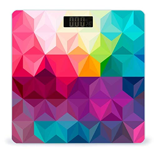 OcuteO Digital Scale Geo Colorful Triangles Rainbow Striped Scales for Body Weight Bathroom Smart Weighing Scale for Women Men Kids Girl Boys Youth Battery-Powered LCD Display Ultra Slim Large