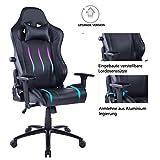 Wolmics Gaming Stuhl Integrierte verstellbare Lendenkissen Hochleistungs-Metallbasis verstellbare Armlehne und hohe Rückenlehne aus Leder im Rennstil für Computer Schreibtisch oder als Leder Stuhl
