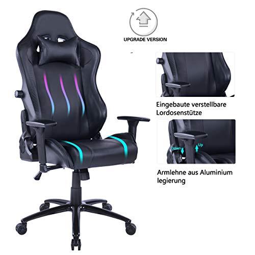 Wolmics - Sedia da gaming con ampio cuscino lombare, 180 kg, in ecopelle, design ergonomico