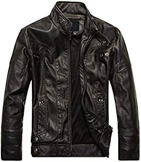Fashion men's leather collar leather jacket L