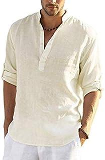 COOFANDY Men's Cotton Linen Henley Shirt Casual Hippie Beach Long Sleeve T Shirts