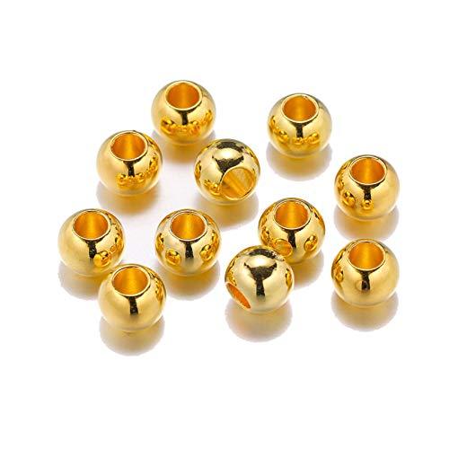 JIACHEN 100 cuentas de diámetro 4, 6, 8, 10 y 12 mm de diámetro grande, cuentas espaciadoras de color oro rosa y rodio para accesorios de fabricación de joyas (color: oro, tamaño: 6 mm x 100 piezas)