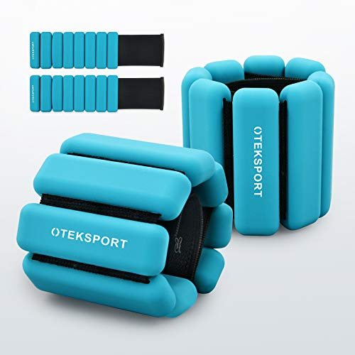 OTEKSPORT Ankle &Wrist Weight Set 1 lb, Fully Adjustable Arm, Leg Weight for Women, Men, for Gym Fitness, Walking, Running, Yoga, Jogging, Pilates (Blue)