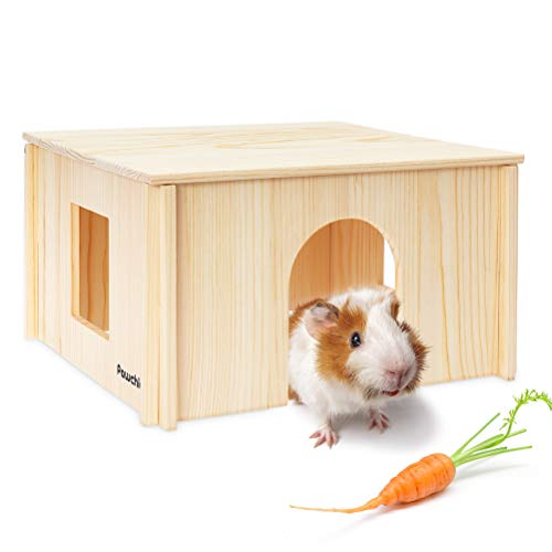 PAWCHIE Wooden Hut with Windows - Detachable and Large Size Wood House, Suitable for Guinea Gigs, Hamsters, Chinchillas and Other Small Animals Hideout Habitat