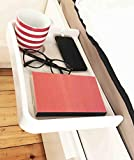AntCrush White <span class='highlight'>Bed</span> side <span class='highlight'>Shelf</span> Clip On Attachable Tray Table with Built in Cup Holder and Phone Cable Slot with Raised Sides Ideal for Students
