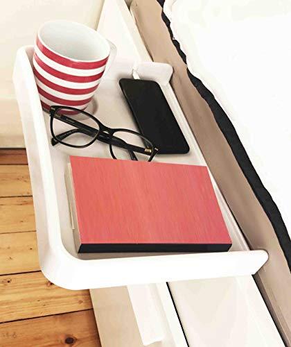 AntCrush Nachttischablage zum Anklipsen, mit integriertem Getränkehalter und Telefon-Kabelschlitz mit erhöhten Seiten, ideal für Studenten