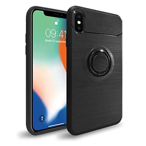 NEW'C Funda con Soporte Anillo para iPhone X, Funda Protectora absorción de Impactos y Fibra de Carbono [Gel Flex Silicone]