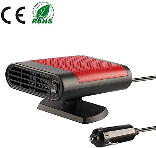 Auto Heizung und Defroster Schnell Erhitzen Luft Reinigen 12V 360°Drehung Auto Heizlüfter 3 In 1 Tragbarer Automatischer Überhitzungsschutz (Rot)