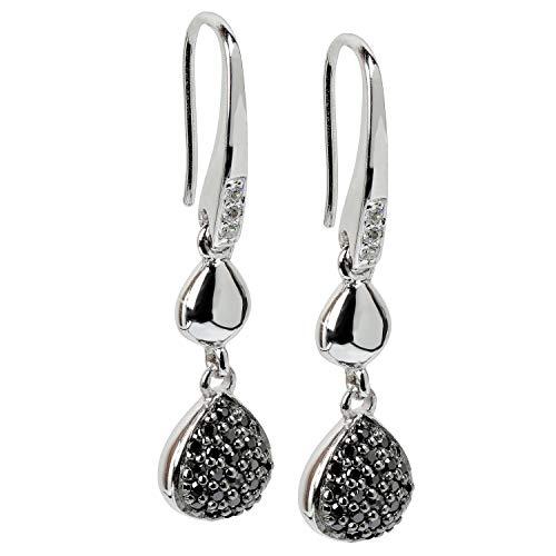 VIVENTY Damen-Ohrhänger Haken aus Silber 925 mit Zirkonia schwarz weiß