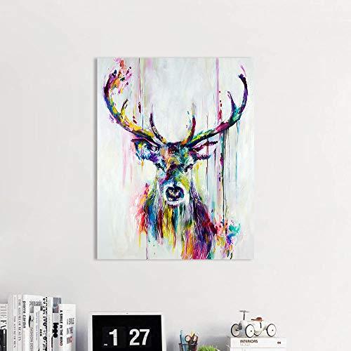 Wall Art woonkamer met kleurrijke herten muurschildering olieverf posters en prints op canvas kunstenaar huisdecoratie frameloze schilderij 12 x 16 inch