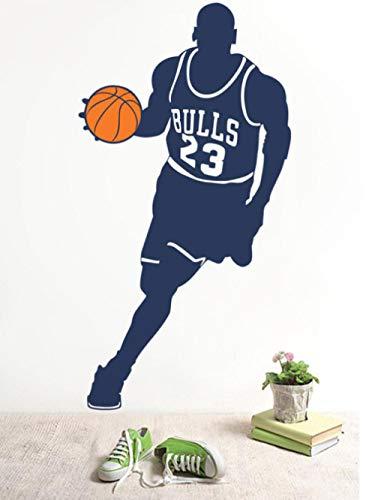 Muursticker basketbalspeler 42 x 80 cm sport voor kinderkamer landelijke grijze applicatie kan Pvc-behang Bewegend woningdecoratie Moderne waterdichte zelfklevende kunst creatieve DIY