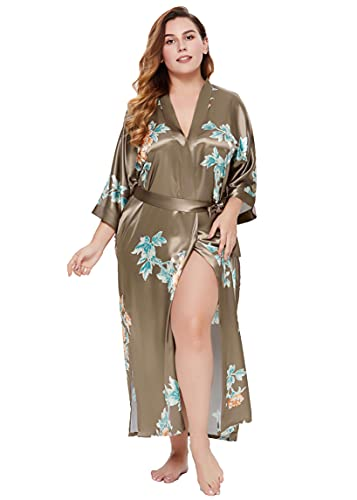 Coucoland Bata de mujer con kimono, tallas grandes, albornoz largo, de verano, con estampado de flores, vestido de playa, elegante, de satén A café Talla única