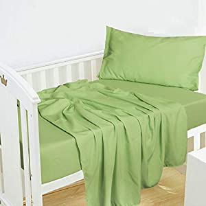NTBAY 3-Piece Microfiber Toddler Sheet Set, Solid Crib Fitted Sheet Flat Sheet and Envelope Pillowcase, Baby Bedding Sheet & Pillowcase Sets, Green