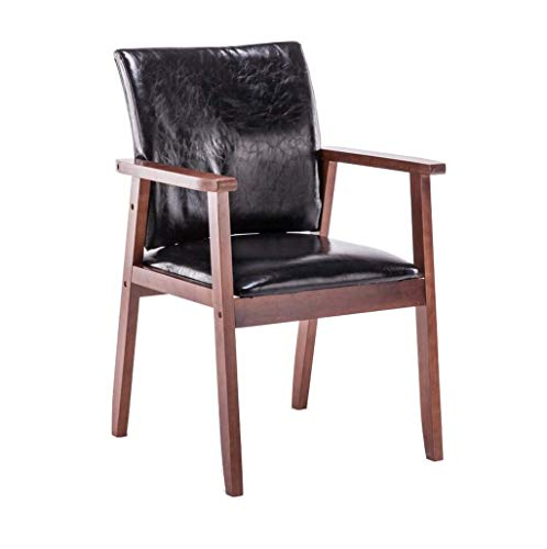 Jieer-C Ergonomische eettafel, comfortabel, notenhout, leuning van hout, bekleed van PU-leer, waterdicht, sterk, duurzaam voor de woonkamer 150 kg – draagkracht: 54 × 54 × 87 cm zwart.