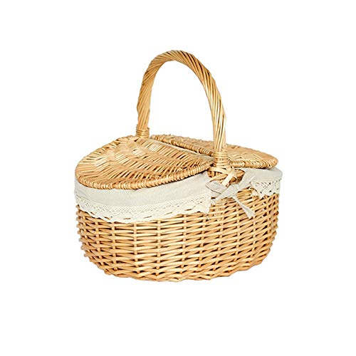 N / C Outdoor Picnic Basket, Environmentally Friendly Bamboo Material, Non-Slip Folding Handle, Cotton Lining, Strong Base, Easy to Carry