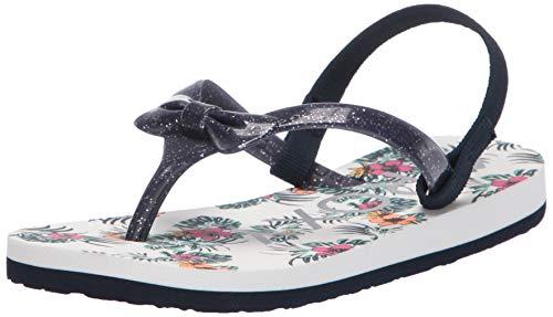 Roxy Girls' TW Fifi Flip Flop Sandal, White Smooth 201, 5 M M US Toddler