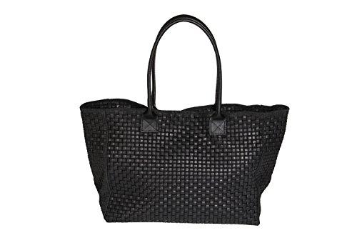 Damen Handtasche Lady Black Echtes Leder (Flecht - Design) Multifunktionstasche Henkeltasche Schultertasche Shoppertasche