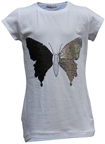 Camiseta de manga corta para niños y niñas, reversible, con lentejuelas, túnica...