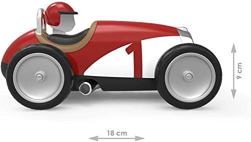 Baghera Coche de Carreras Rojo Coche de Carreras de Estilo Retro - Plástico ABS Duradero | Desde los 12 Meses de Edad