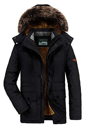 BININBOX Herren Warme Winterjacke Parka Jacke Gefüttert Baumwolle Mantel mit Fell Kapuze Wintermantel Winterparka (S (Hersteller Gr.L), Schwarz)