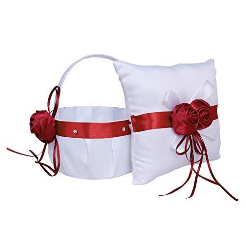 Wedding Girl Flower Basket Cojín de portador de flores de rosas, conjunto de almohadas de anillo de canasta de flores Almohada de anillo de bodas romántica(Flower basket + ring pillow)