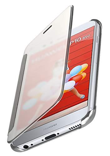 moex Dünne 360° Handyhülle passend für Huawei P10 Lite | Transparent bei eingeschaltetem Bildschirm - in Hochglanz Klavierlack Optik, Silber