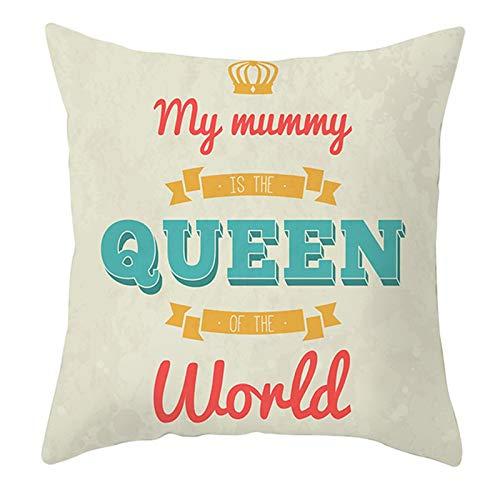 KnBoB Funda de Almohada 40 x 40 cm Poliéster Caqui Azul Verde My Mom Is The Queen of The World Corona Estilo 27