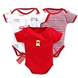 100% Cotton,Premium Quality New Born Baby Multi-color Short Sleeve Cotton Bodysuit for Boys and Girls Set Of 3 Soft fabrics well suited for babies skin Funky Color and Design 3 Pcs casual Short Sleeve Romper suit Color & Design will de dispatched as ...