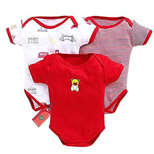 EIO® Newborn Baby Boy/Girl Multi-Color Cotton Short Sleeve Romper Jumpsuit Bodysuit Summer Outfits Set of 3 (Red, 0-3 Months)