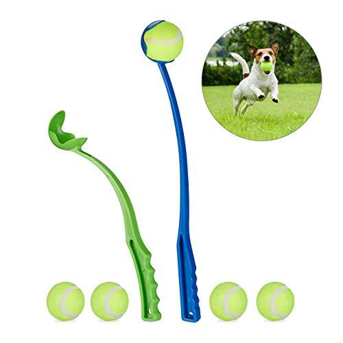 Relaxdays Hunde 2er Set Ballwerfer Ballschleuder, blau/Grün, One Size