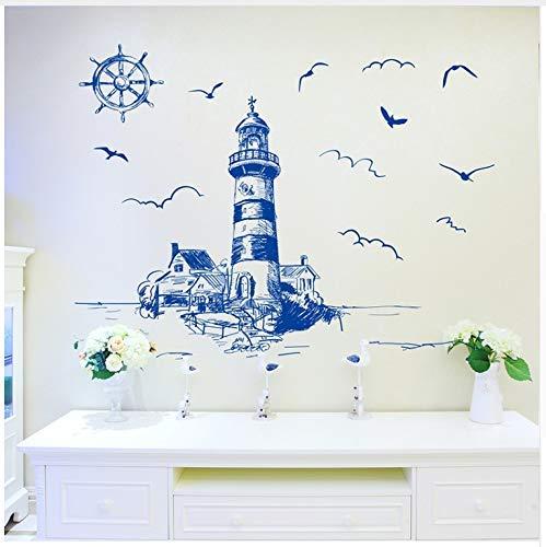 Mediterranen Stil Leuchtturm Wandaufkleber Pvc Diy Segelboot Wandtattoo Für Wohnzimmer Schlafzimmer Haus Dekoration