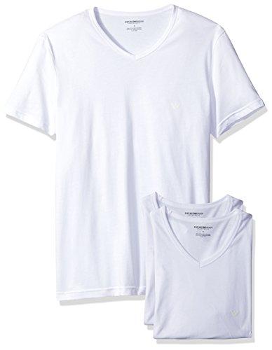 Emporio Armani Herren Men's Cotton V-Neck T-Shirt, 3-Pack Unterhemd, weiß, Mittel (3er Pack)