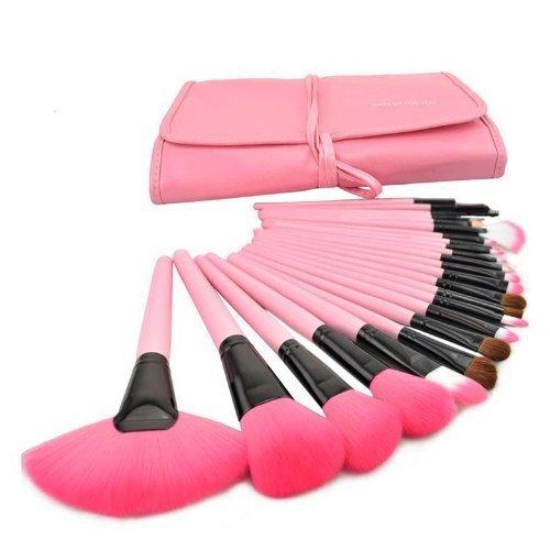 XLKJ 24 Stücke Make Up Pinsel Set,Premium Schminkpinsel Kosmetikpinsel mit Tasche(Rosa)